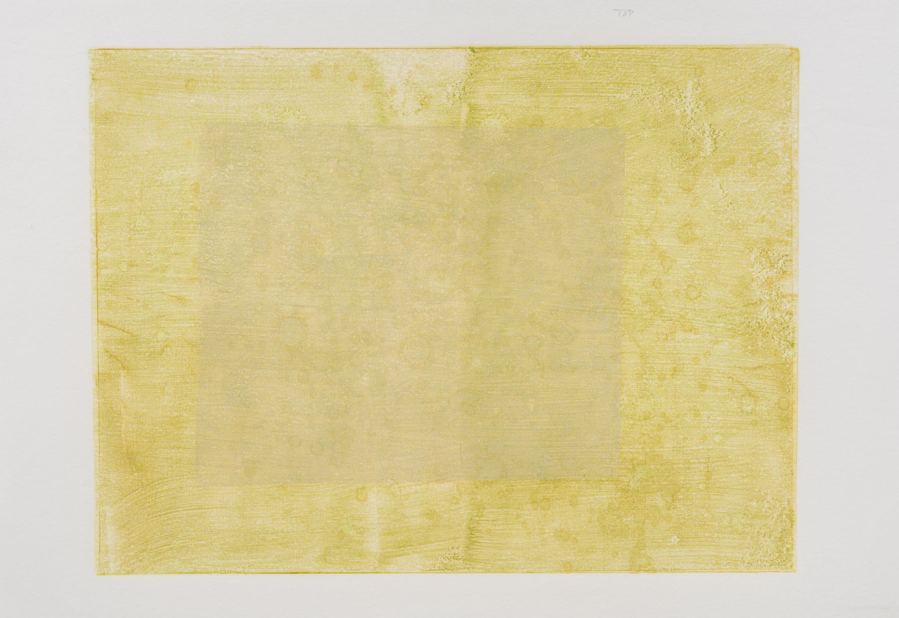 Felrath Hines , Untitled, 1982 , Monotype,  18 x 24 inches. Organic and natural yellow monotype with a tan square within a yellow rectangle. Felrath Hines worked to create universal visual idioms from a place of complex personal experience. His figurative and cubist-style artwork morphed into soft-edged organic abstracts as he grappled with hues in his chosen oil medium.