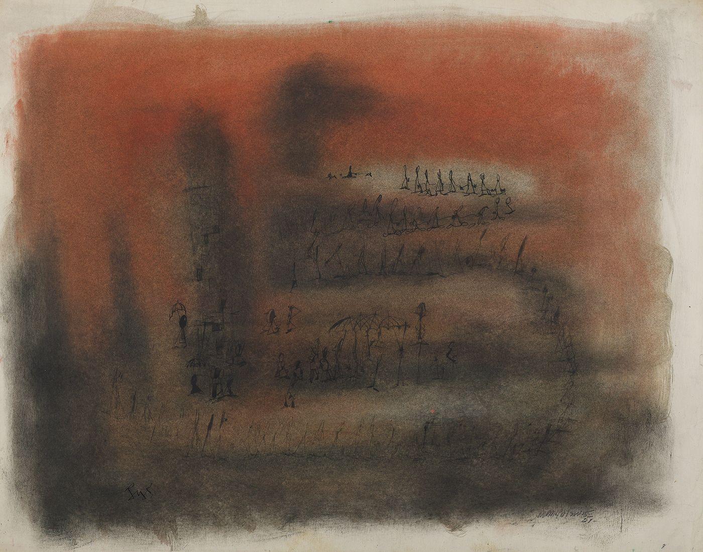 Norman Lewis (1909-1979), Figures on an Orange Ground, 1951