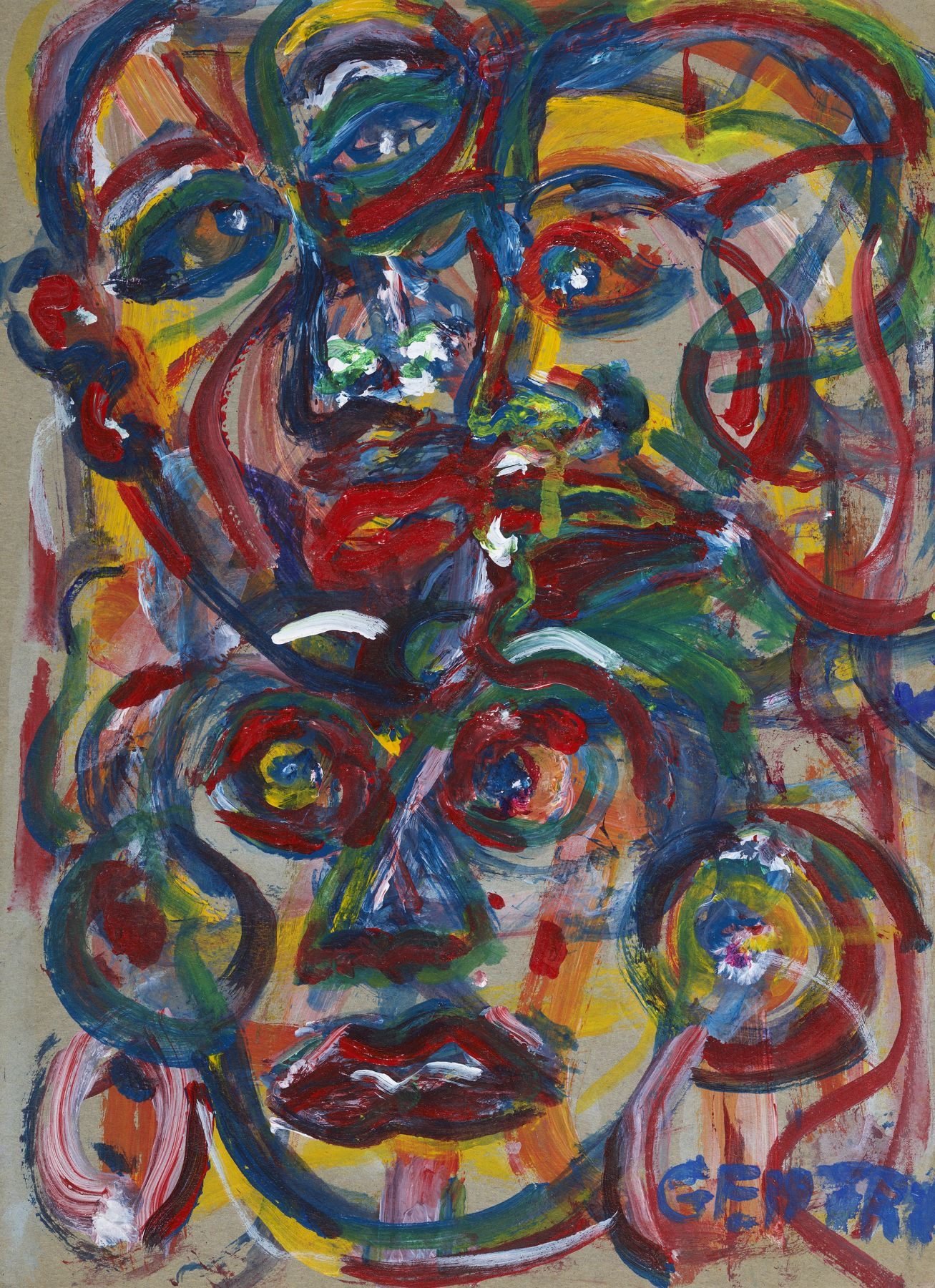 Herbert Gentry, Three Ways, 1994, Acrylic on board, 11 1/2 x 8 1/4 inches,  Outlined and overlapped portraits in red, blue, green and yellow. Herbert Gentry painted in a semi-figural abstract style, suggesting images of humans, masks, animals and objects caught in a web of circular brush strokes, encompassed by flat, bright color.