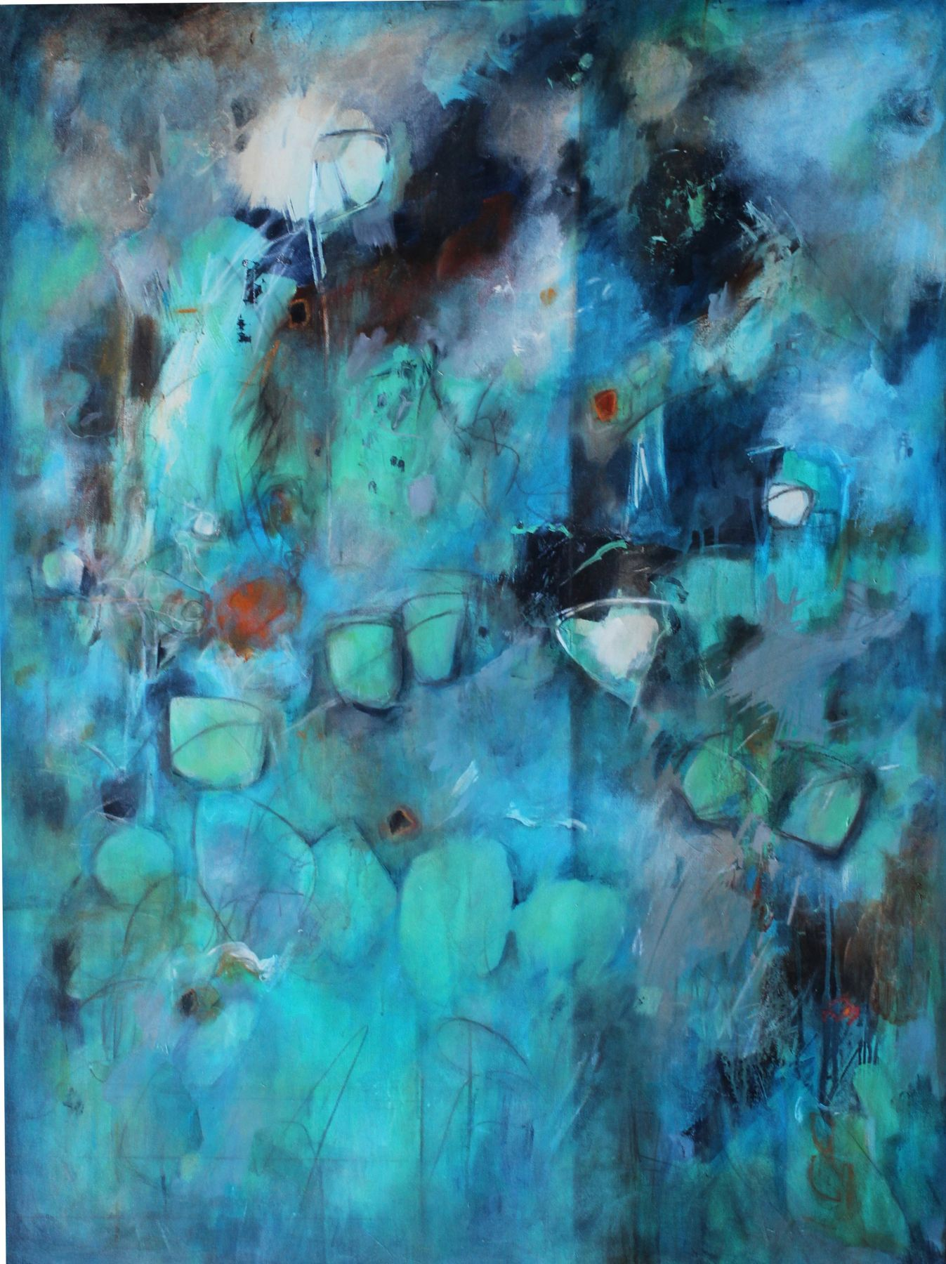 Diane Walker-Gladney, Racoon Dance Party, 2018, Acrylic and graphite on canvas, 48 x 36 inches, Abstract work with multiple hues of blue and turquoise, Diane Walker-Gladney celebrates and paints her childhood experiences and insignificant moments that she feels defines her story.