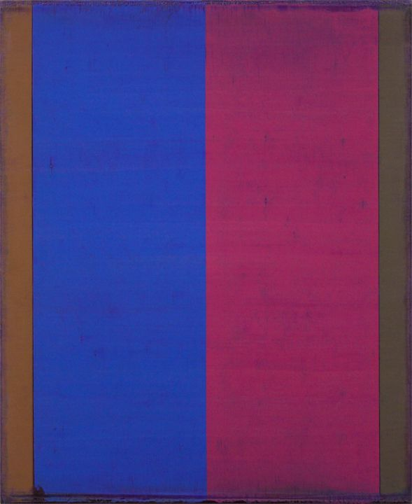 Steven Alexander, Reverb 19, 2017, Oil and acrylic on canvas, 22 x 18 inches, Signed and titled on the verso, Vertical rectangles in cobalt blue and magenta with brown border, Steven Alexander is an American artist who makes abstract paintings characterized by luminous color, sensuous surfaces and iconic configurations.