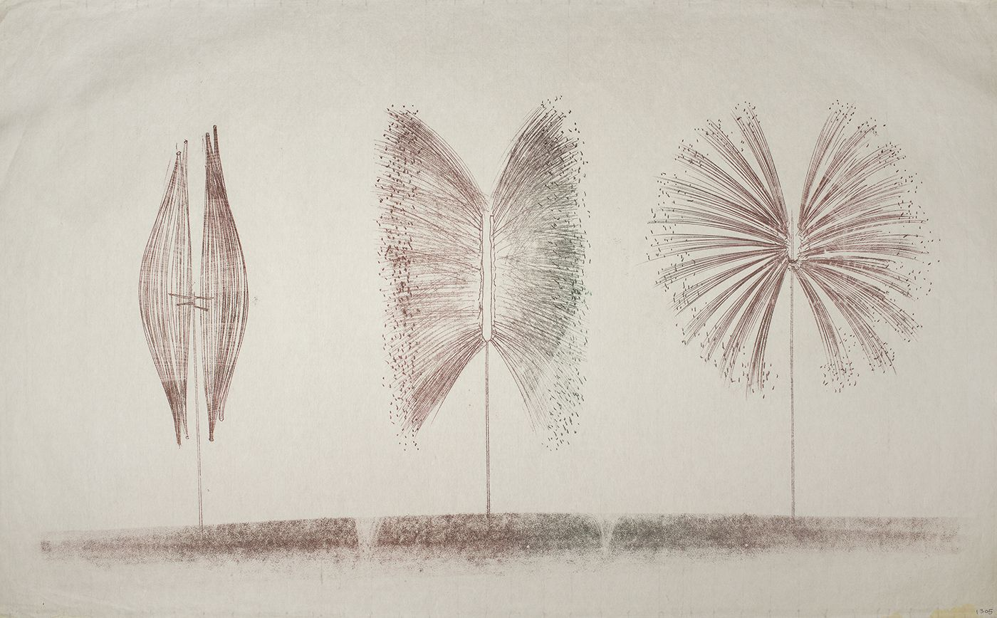 Harry Bertoia, 1305, ca.1970, Monoprint on rice paper  26 x 41 in, Three trees with strange abstract shapes on stick bases. Harry Bertoia was an artist and furniture designer.