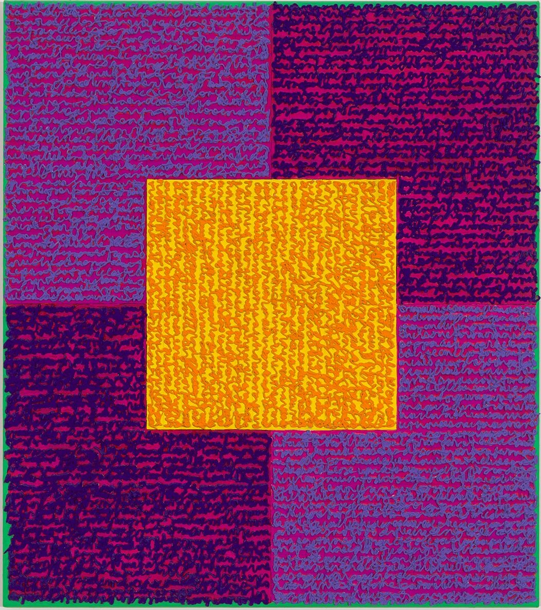 ,Louise P. Sloane, VVPPO, 2015, Acrylic paint and pastes on aluminum panel, 34 x 30 inches, Signed, titled and dated on verso, four rectangles and a central square (purple and violet with yellow) and personal text written over the squares to create three dimensional texture. Louise P. Sloane has been creating abstract paintings since 1974.
