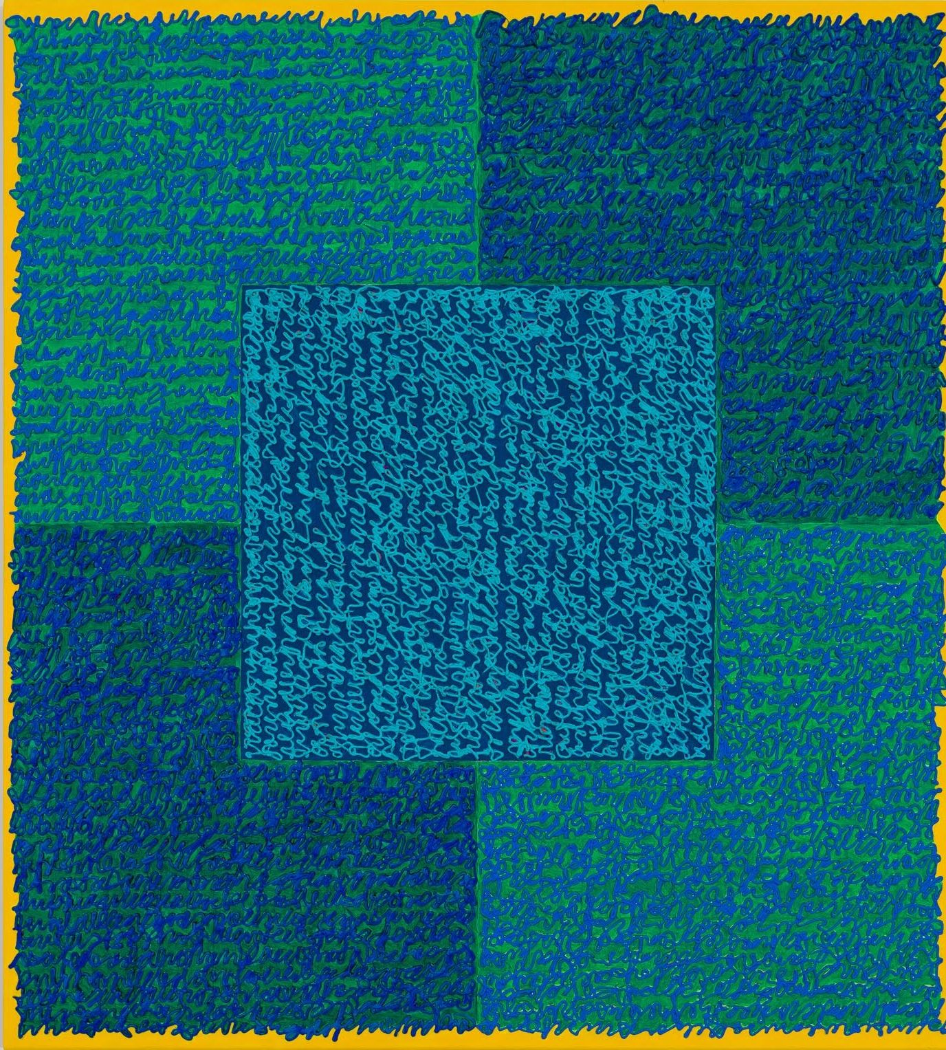 Louise P. Sloane, Fated 7, 2016, Acrylic paint and pastes on aluminum panel, 40 x 36 inches, signed, titled and dated on the verso, four rectangles and a central square (teal, blue, and yellow edges) with personal text written over the squares in blue to create three dimensional texture. Louise P. Sloane has been creating abstract paintings since 1974.