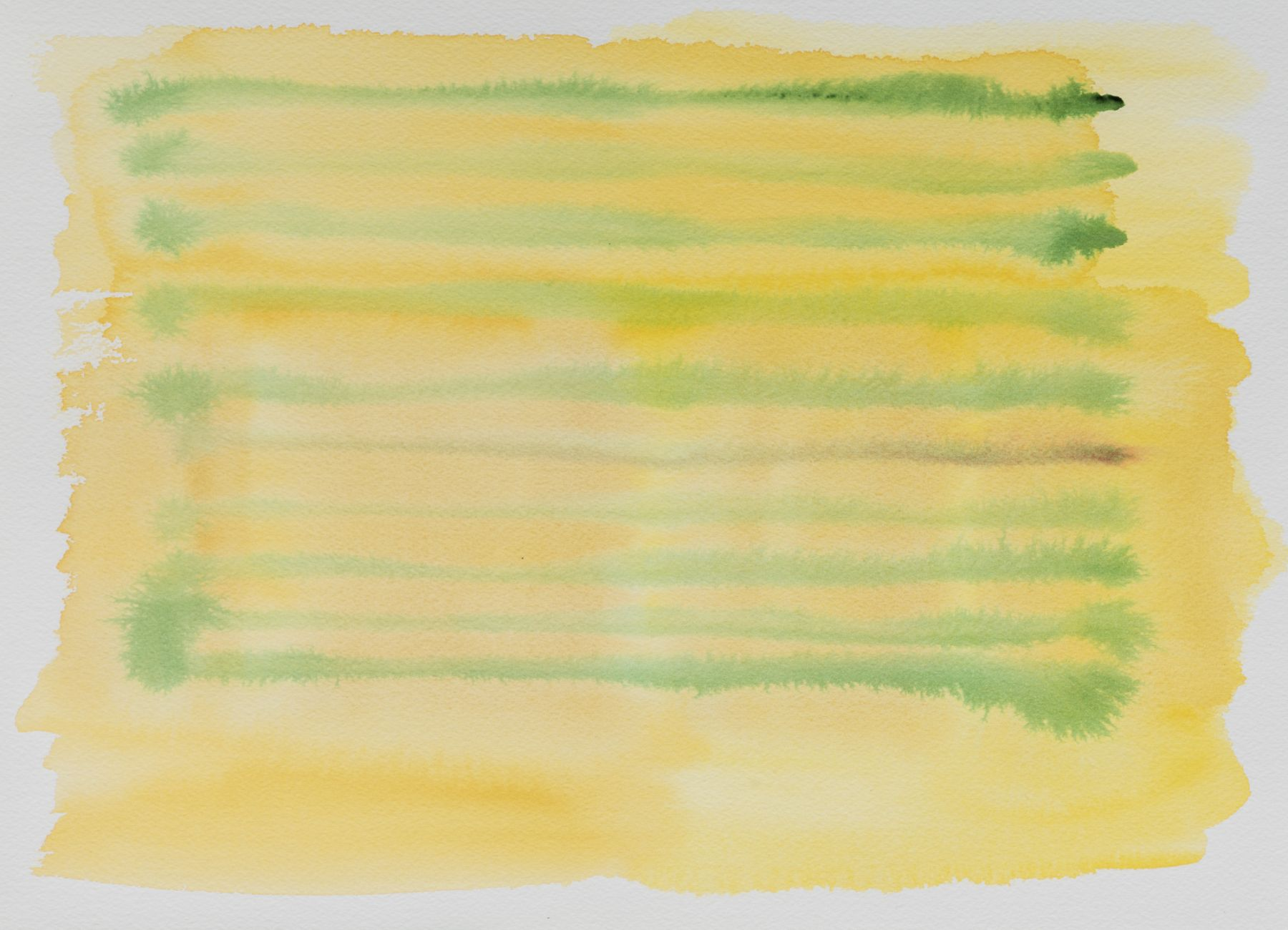 Felrath Hines, Untitled, 1980s,  Watercolor on paper,  10 x 14.25 inches. Horizontal green and yellow brush strokes. Felrath Hines worked to create universal visual idioms from a place of complex personal experience. His figurative and cubist-style artwork morphed into soft-edged organic abstracts as he grappled with hues in his chosen oil medium.