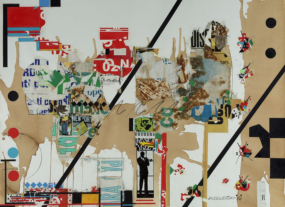 Sam Middleton, Newport, 1992, Mixed media collage, 30 1/2 x 42 inches,Signed and dated lower right, MIDDLETON 92 Titled, numbered, and inscribed on verso, collage with magazine textured torn paper and a white background.  Sam Middleton was one of the leading 20th-century American artists, and is a mixed-media collage artist.