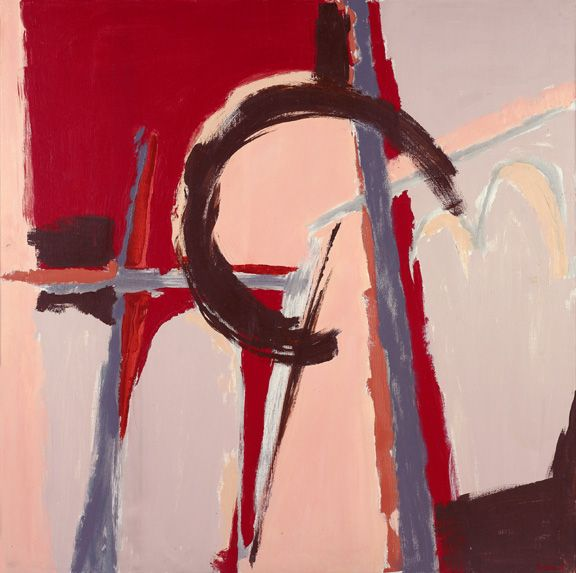 Judith Godwin,  Infidel, 1979,  Oil on canvas,  50 x 50 inches, Abstract work with red, light pink and mahogany, Judith Godwin uses the gestural methods and expressive color of abstract expressionism to convey her responses to life and nature.