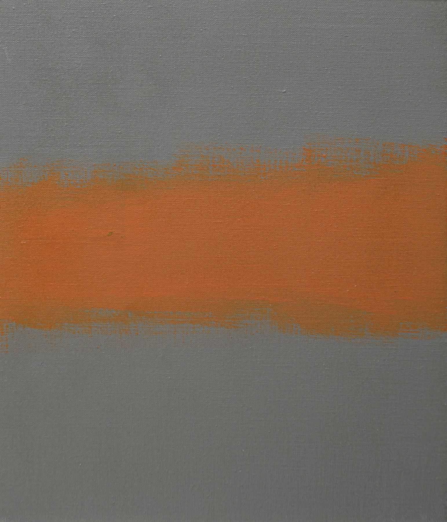 Felrath Hines, Untitled (sketch), 1969, Oil on canvas, 12 x 14 in., signed. Abstract painting with horizontal orange brush strokes over grey background. Felrath Hines worked to create universal visual idioms from a place of complex personal experience. His figurative and cubist-style artwork morphed into soft-edged organic abstracts as he grappled with hues in his chosen oil medium.