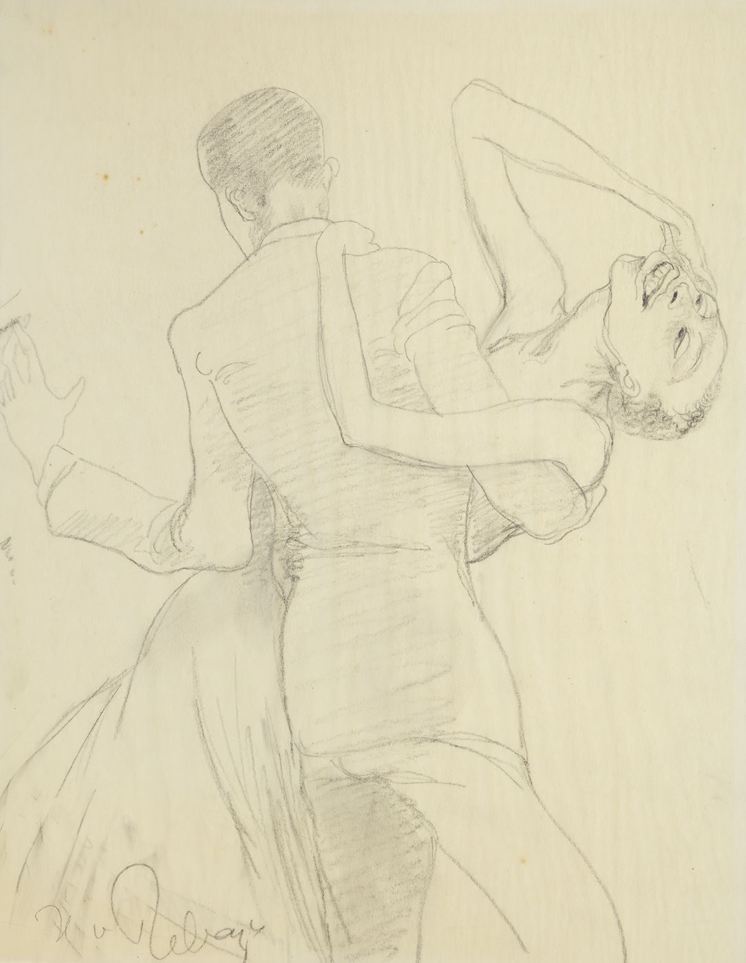 Hilla Rebay, Swingers, Graphite on paper, 11 x 9 inches, pencil sketch of man dancing with smiling woman. Hilla Rebay was an abstract artist and co-founder of the Guggenheim.