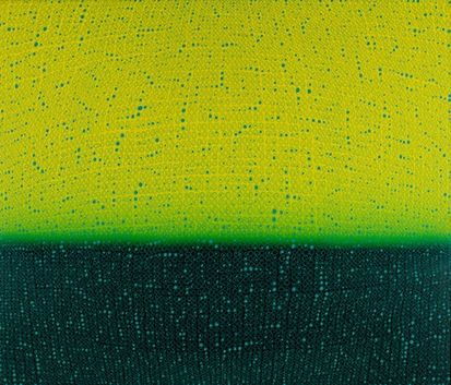 Teo Gonzalez, Arch/Horizon Painting 5, 2016, Acrylic on canvas over board, 36 x 42 inches. Lime green and dark green background with signature grid on top. Teo Gonzalez was born in Spain, and his signature style are works that consist of thousands of drops of water, arranged into a grid pattern, inside of which a small amount of ink or enamel was dropped and left to dry.