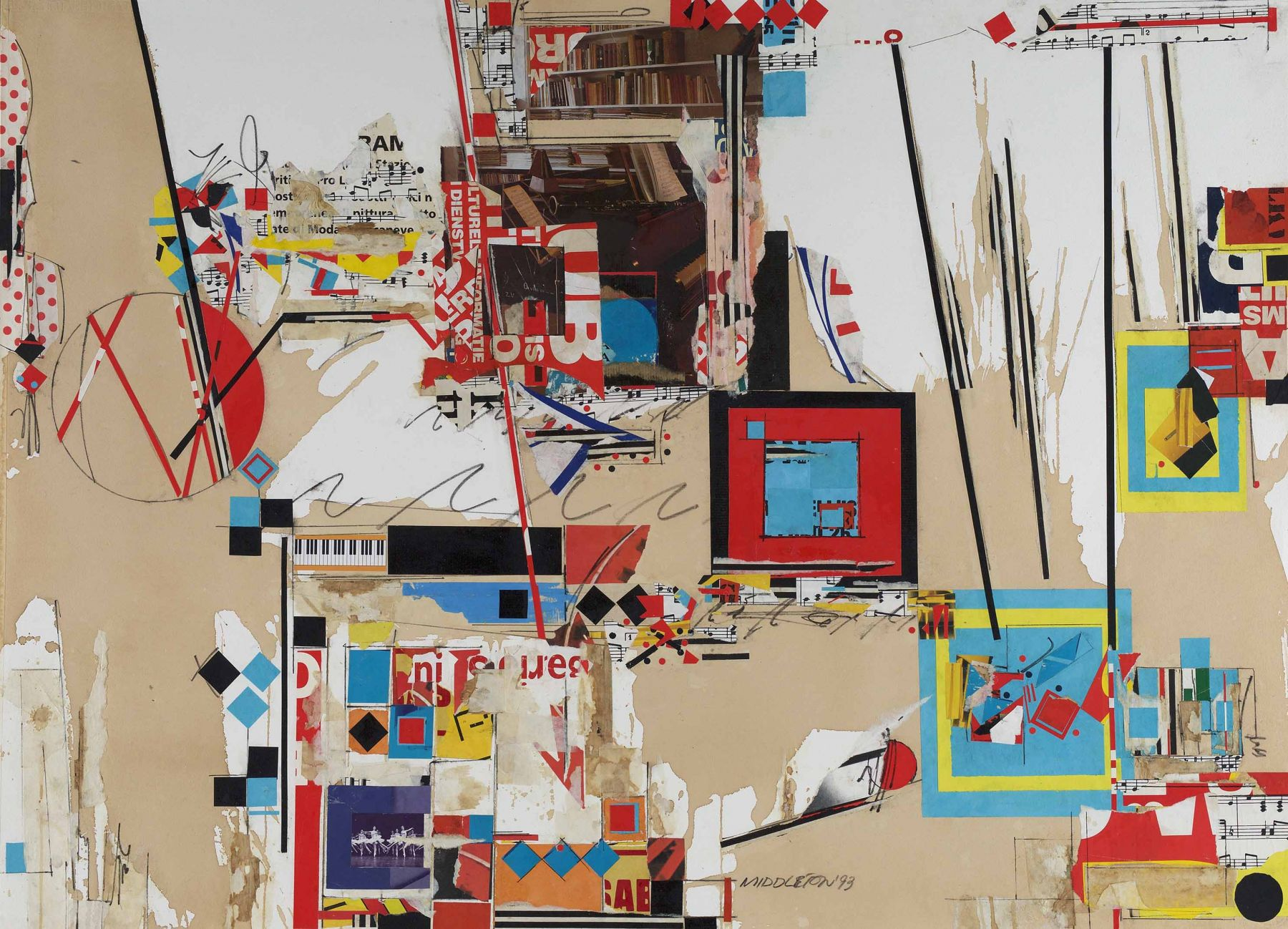 Time,1993, Mixed media and collage on paper