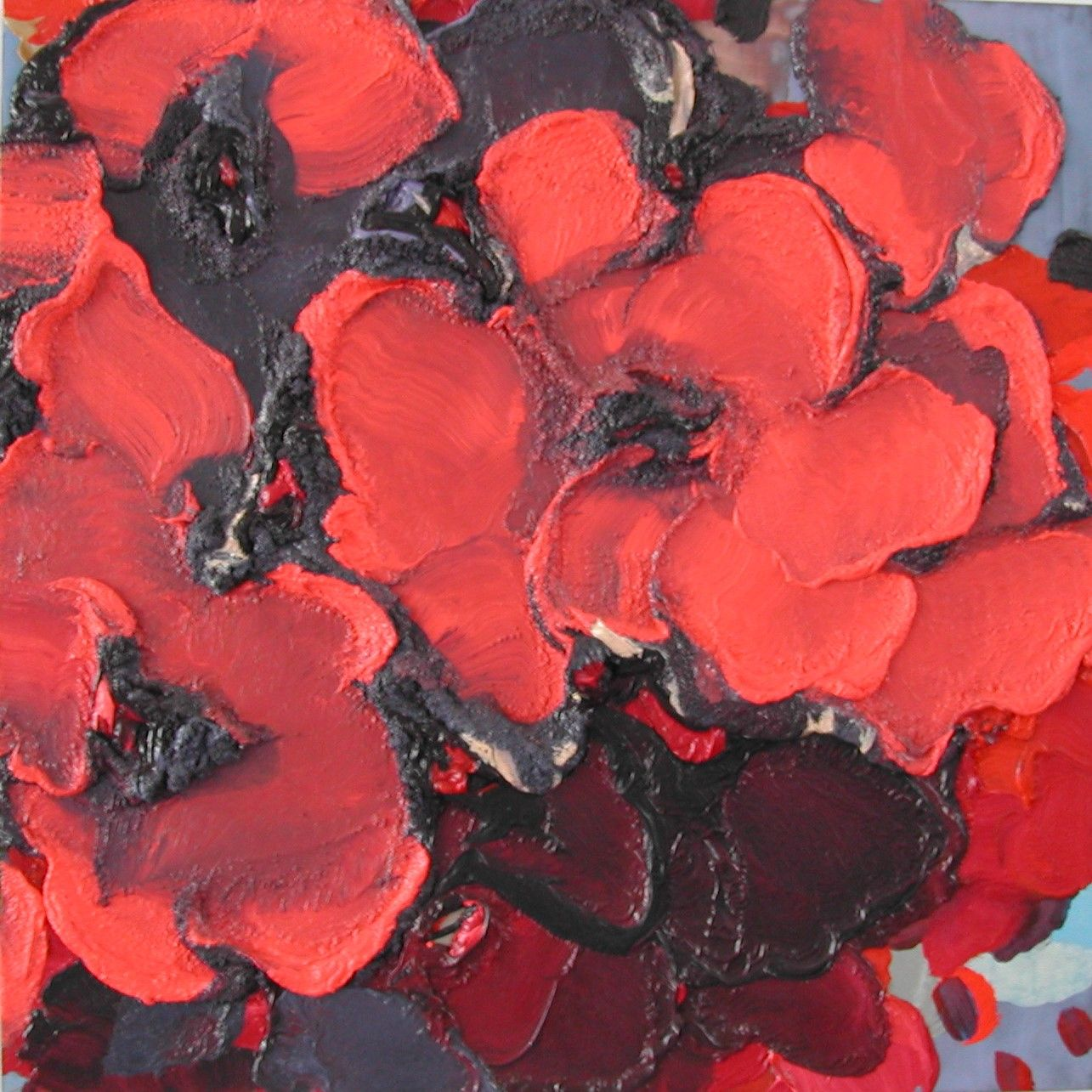 Jasmina Danowski, Untitled, 2003  24 x 24 inches,  Oil, pigment on wooden panel, Abstract petal shaped marks in red and black,  Jasmina Danowski creates abstract paintings that are rich in color and texture.