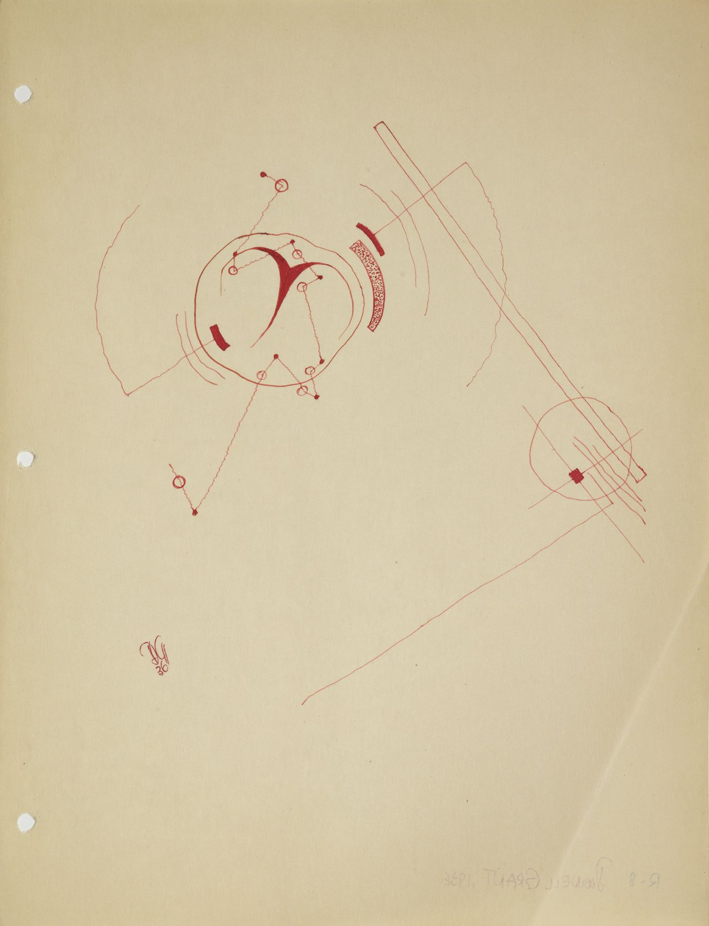 Dwinell Grant, R-8, 1936, Ink on paper, 10 1/4 x 8 inches, Red thin line sketch. Dwinell Grant made experimental modernist and constructivist films and paintings.