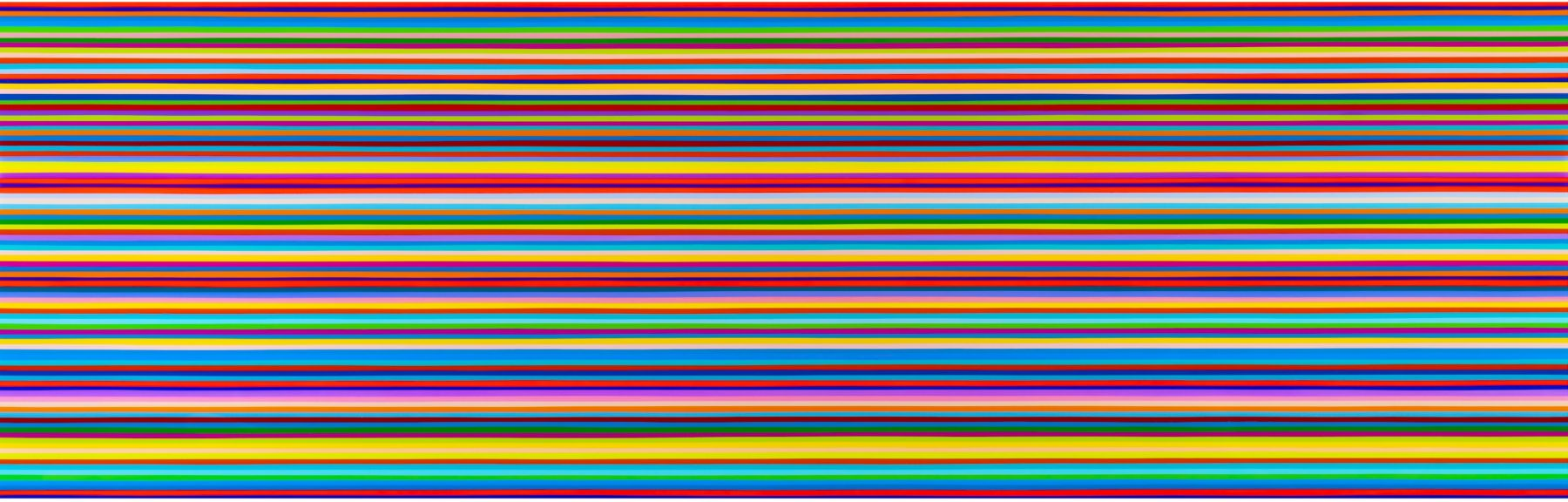 Heidi Spector, Only Love Can Save the Day, 2019, Liquitex with resin on Birch panel, 24 x 72 x 2 inches, Signed, titled and dated on the verso, Horizontal panel with bright and colorful thin stripes set in a glass-like surface, Heidi Spector creates geometric minimalist art inspired by musical rhythms that are composed of repetitive cubes in candy-like colors that vibrate.