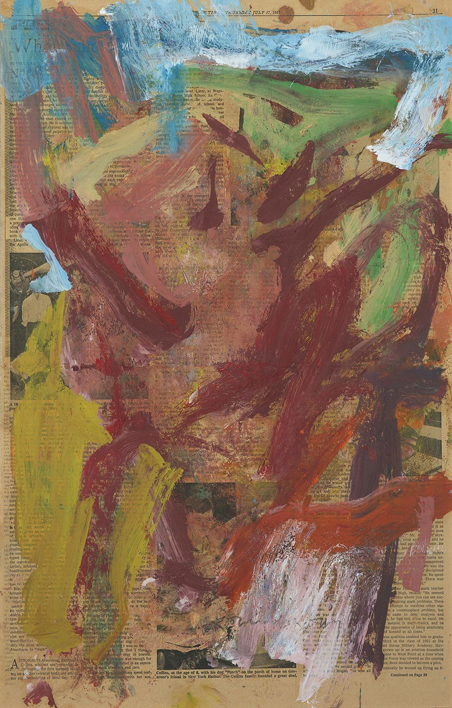 Willem de Kooning, Thursday July 17, 1969,  Oil on Newspaper,  23 x 14 1/2 inches, Abstract piece with muted color marks over a newspaper page. Willem de Kooning was one of the largest Abstract Expressionist painters who focused on gestural movement, Cubism, Surrealism and Expressionism.