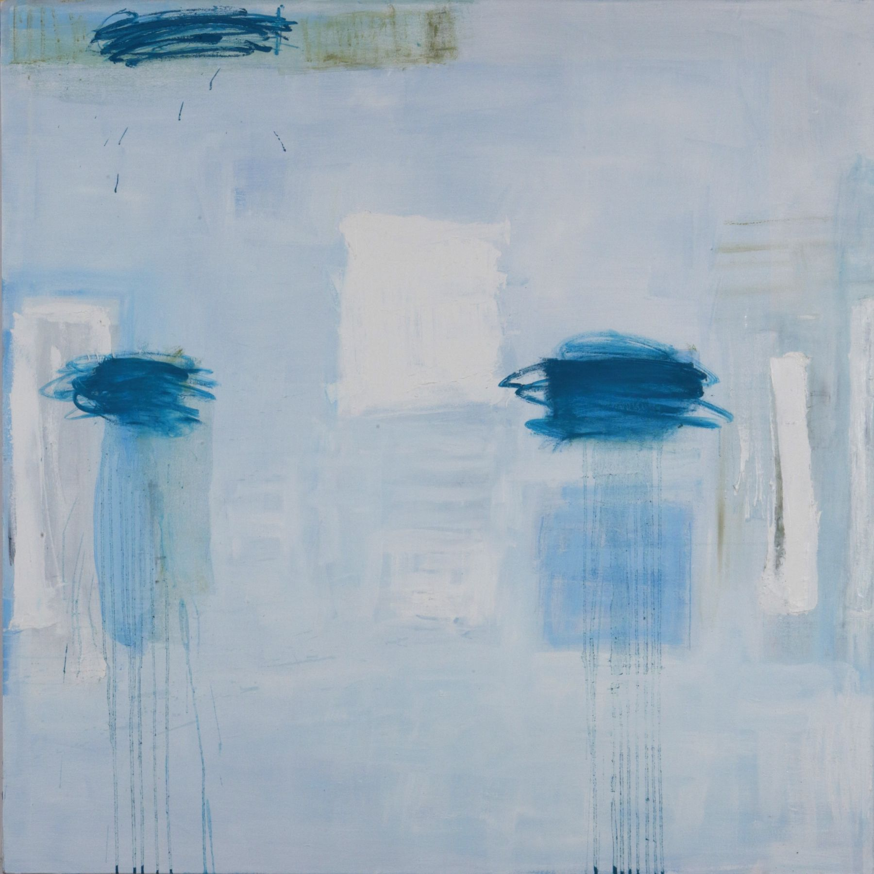 Katherine Parker, All that Follows, 2018, Oil on canvas, 60 x 60 inches. Abstract work with light blue, white and darker blue organic and gestural shapes.Katherine Parker is known for her large vividly painted canvases which are characterized by layers of stumbled and abraded oil paint.