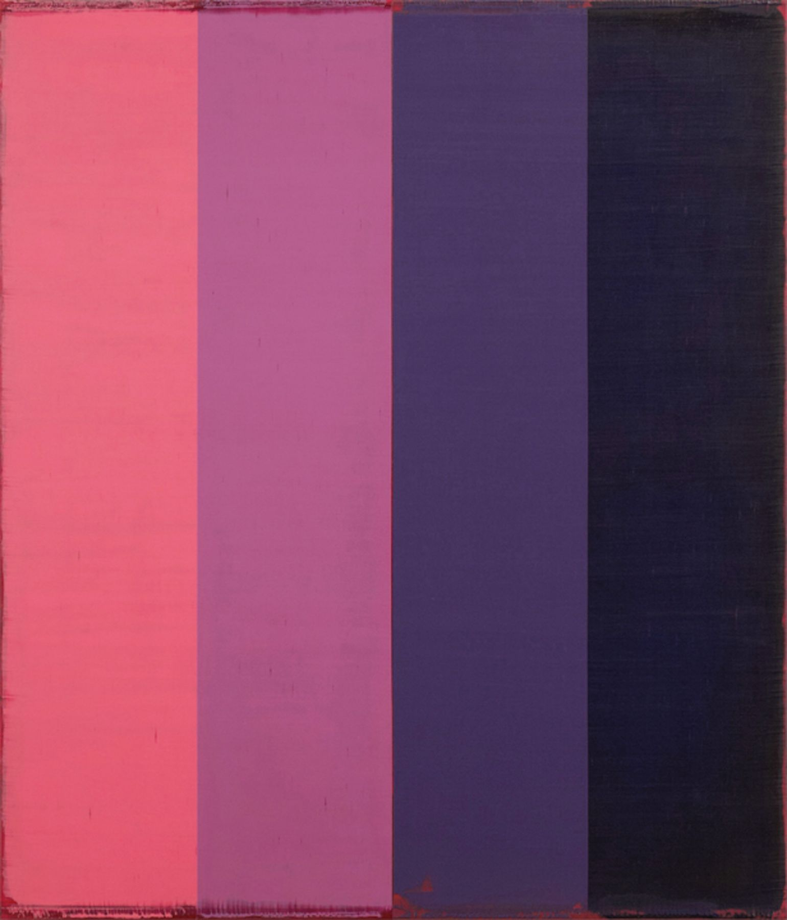 Steven Alexander, Arcade 8, 2018, Oil and acrylic on linen, 42 x 36 inches, Signed and titled on the verso, Vertical rectangles in pink, lilac, purple and navy blue, Steven Alexander is an American artist who makes abstract paintings characterized by luminous color, sensuous surfaces and iconic configurations.