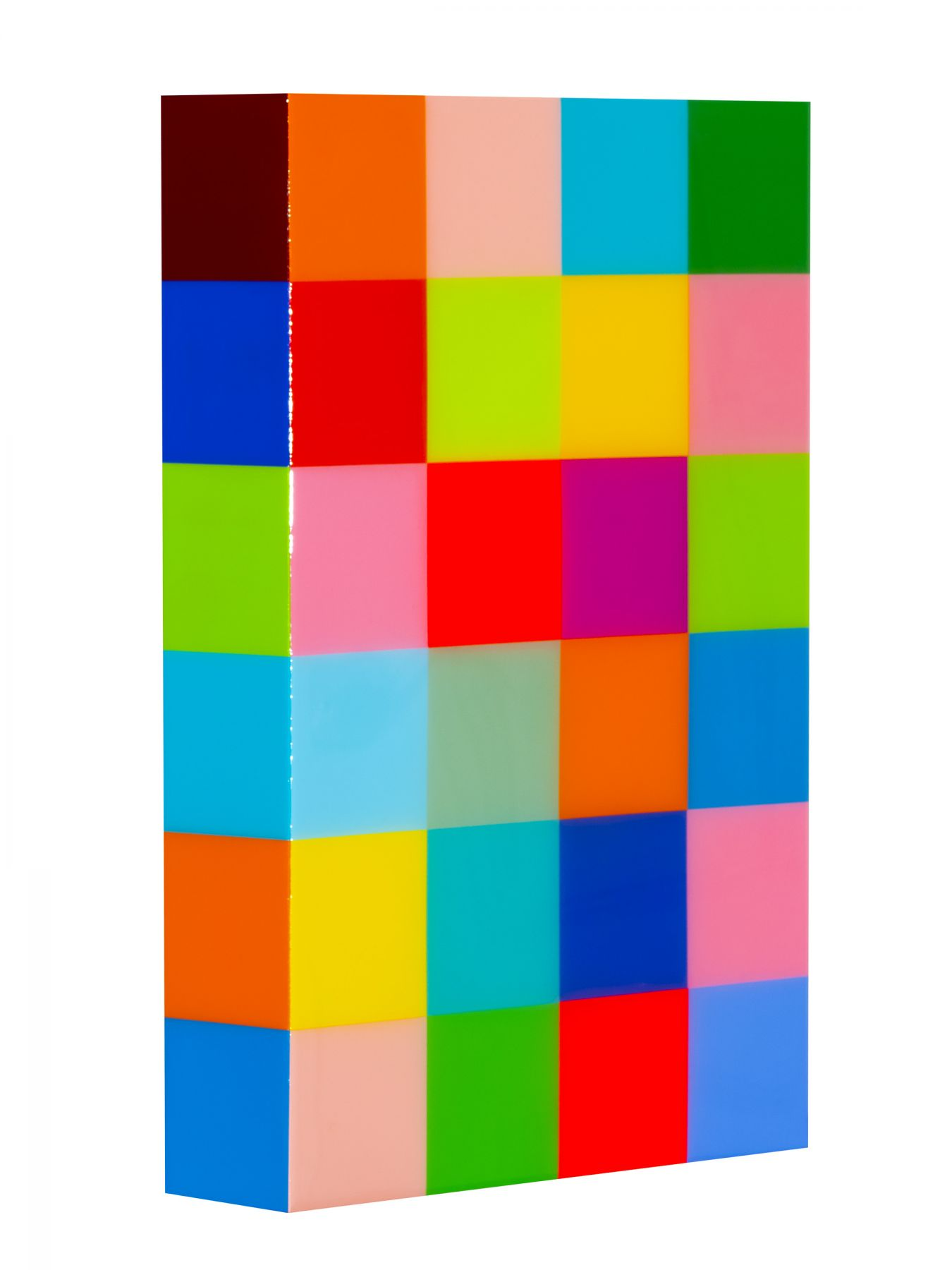 Heidi Spector, Deep In The Heart of Me I, 2019, Liquitex with resin on Birch panel,18 x 12 x 3 inches, Signed, titled and dated on the verso, Vertical panel with bright and colorful cubes set in a glass-like surface, Heidi Spector creates geometric minimalist art inspired by musical rhythms that are composed of repetitive cubes in candy-like colors that vibrate.