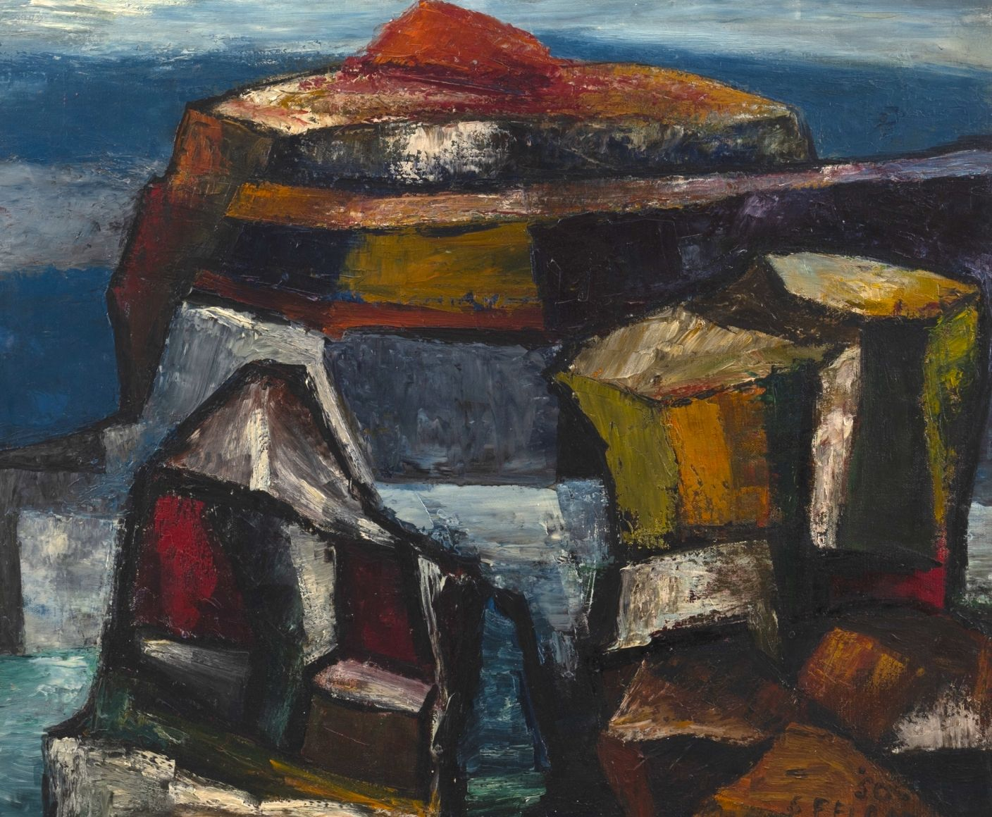 Felrath Hines, Rocks, 1950, Oil on canvas , 20 x 24 Inches. Abstract painting of stacked rocks, with both cool and warm colors. Felrath Hines worked to create universal visual idioms from a place of complex personal experience. His figurative and cubist-style artwork morphed into soft-edged organic abstracts as he grappled with hues in his chosen oil medium.