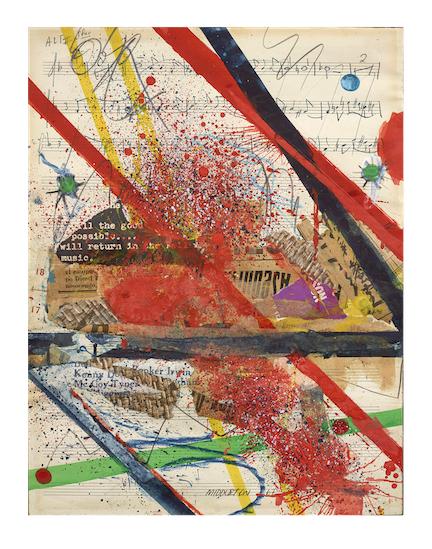 Sam Middleton, Slashes of Sound, 1967, Mixed media collage, 9-1/2 x 12 inches, Lower center and dated, Middleton 67, Vibrant collage with red, green and yellow paint on top of music notes. Sam Middleton was one of the leading 20th-century American artists, and is a mixed-media collage artist.