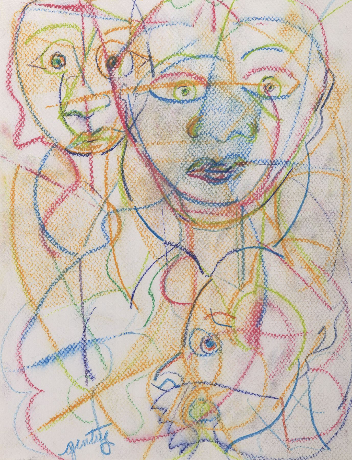 Dialogue Series F, 1993, Pastel and colored pencil on paper