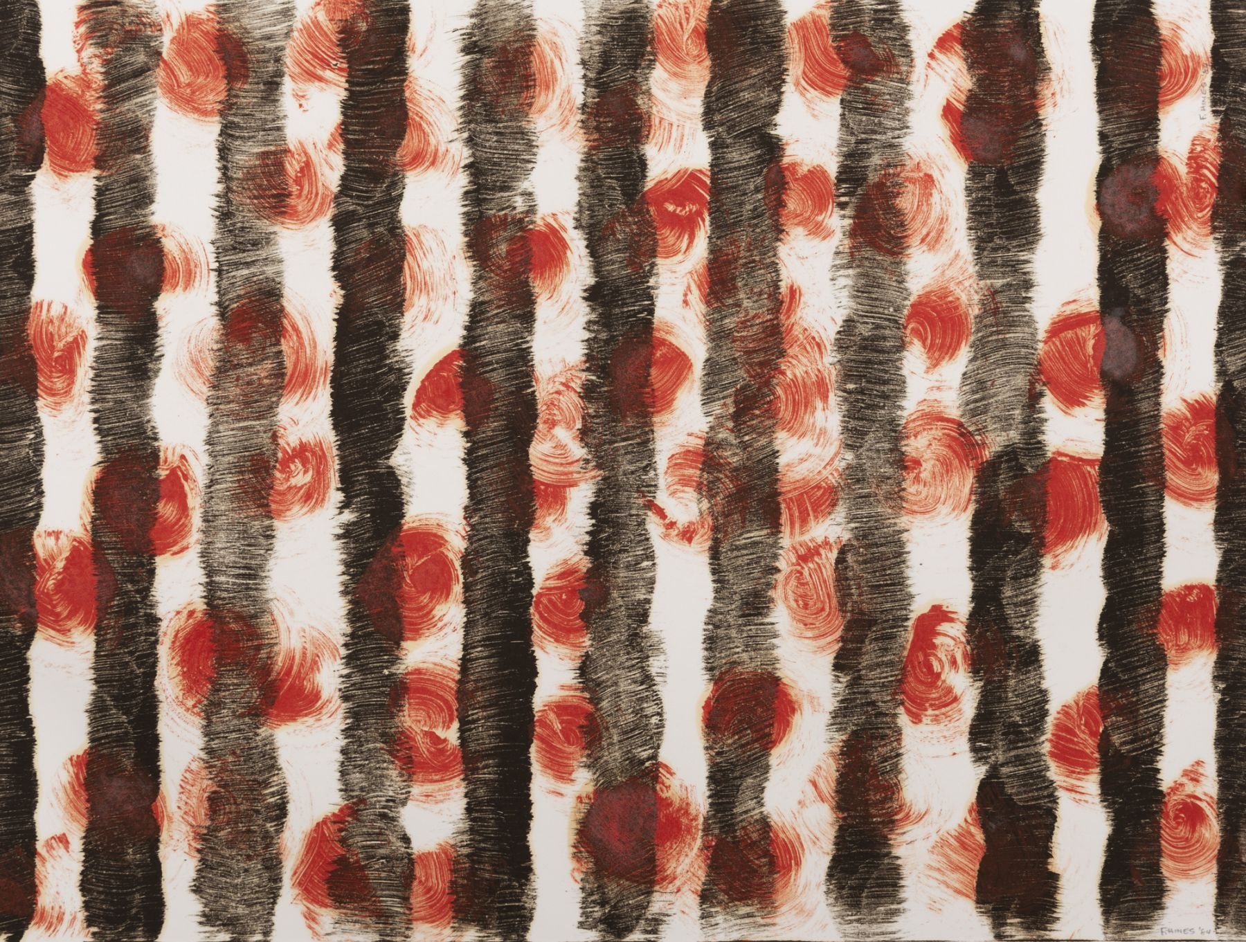Felrath Hines, Black Verticals with Red Monotype, 1984,  Monotype, 18 x 24 inches. Black vertical marks with red dots. Felrath Hines worked to create universal visual idioms from a place of complex personal experience. His figurative and cubist-style artwork morphed into soft-edged organic abstracts as he grappled with hues in his chosen oil medium.