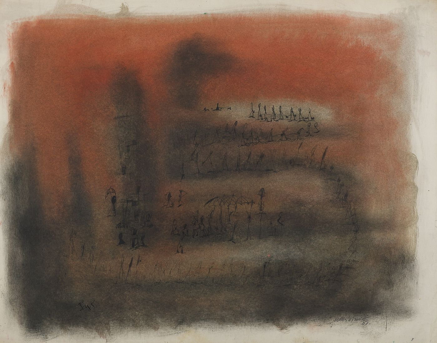 Norman Lewis, Figures on an Orange Ground, 1951  Mixed media on paper  16-1/2 X 21-3/4  Signed and dated lower right. Abstract work with soft marks and uneven edges in shades of black and orange. Norman Lewis was a vital member of the first generation of abstract expressionists. He was the sole African American artist of his generation and his art derived from his interests in music and equality issues.