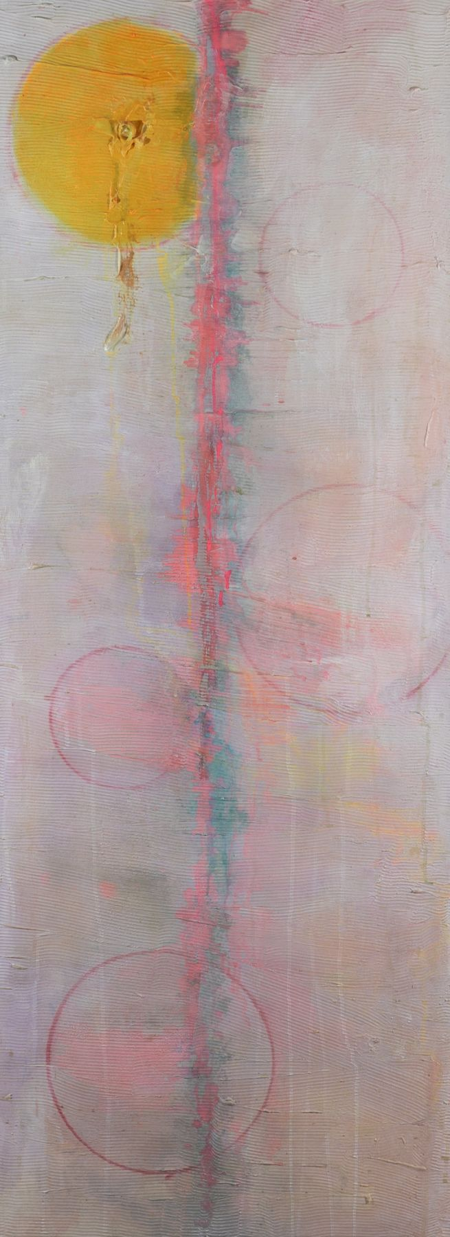 Frank Bowling, Fair Maid, 2009, Acrylic on canvas  68 x 25 inches, Abstract vertical painting with outlined spheres. Frank Bowling is interested in abstract paintings that use a color palette from his home country of Guyana.