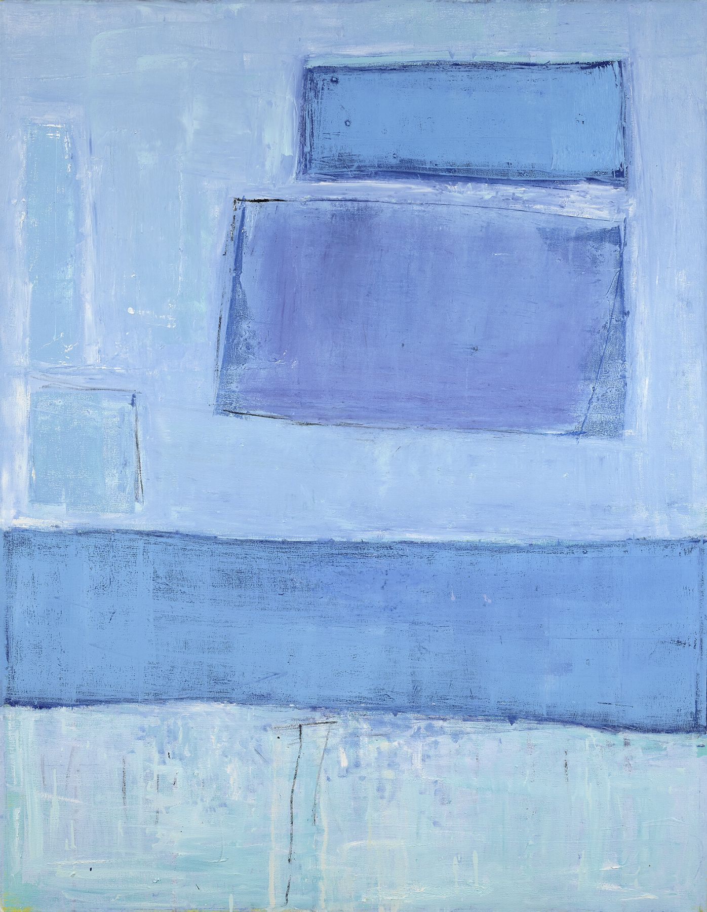 Katherine Parker, Pale Edges, 2017, Oil on canvas, 48 x 36 in..  Abstract work with different hues of blue in organic and gestural shapes. Katherine Parker is known for her large vividly painted canvases which are characterized by layers of stumbled and abraded oil paint.