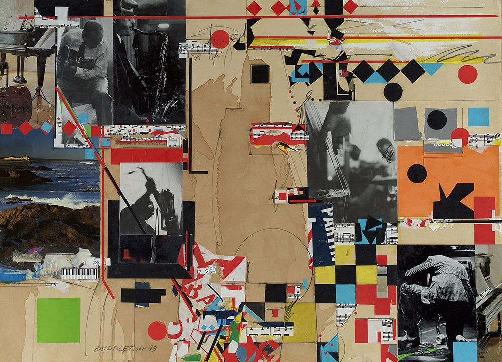 Sam Middleton, Impromptu, 1993, Mixed media collage, 30 1/4 x 41 1/2 inches, Signed and dated lower left, MIDDLETON 93 Signed, titled, and numbered on verso, collage with brown paper background and photographs collaged on top.  Sam Middleton was one of the leading 20th-century American artists, and is a mixed-media collage artist.