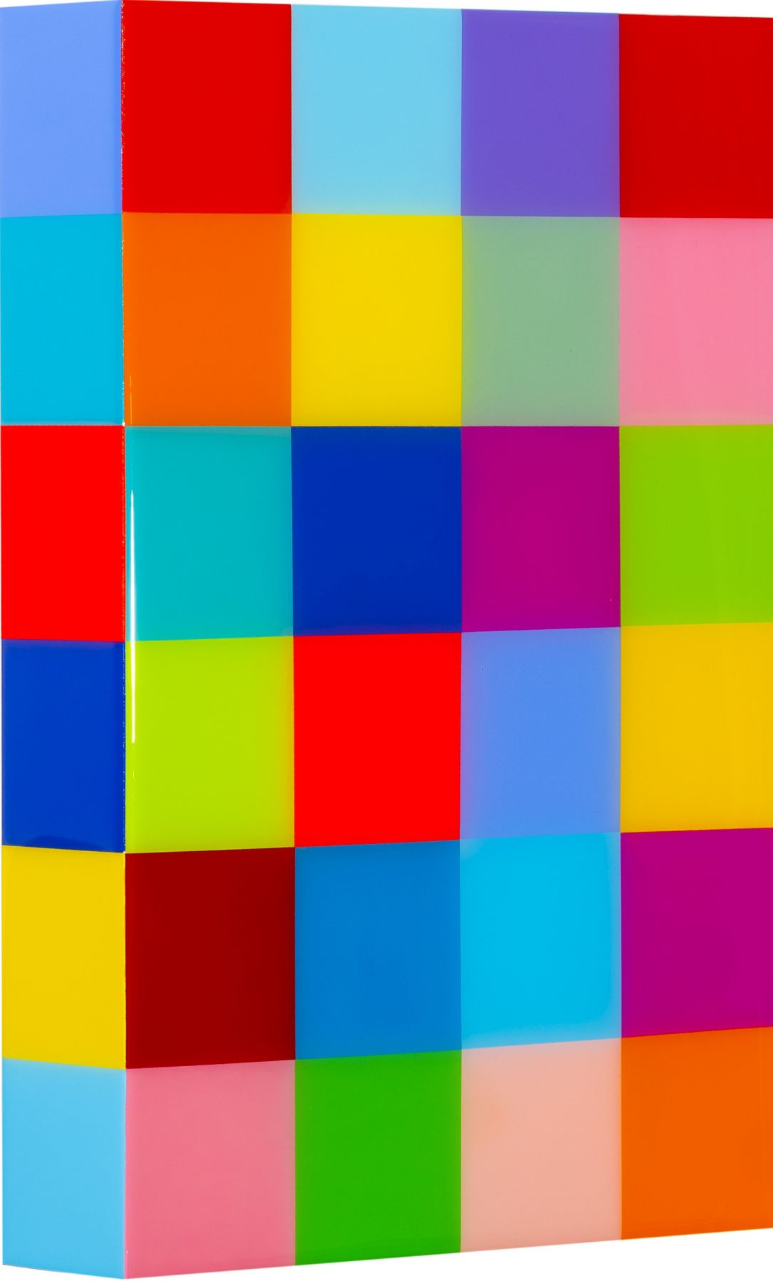 Heidi Spector, Deep In The Heart of Me II, 2019, Liquitex with resin on Birch panel,18 x 12 x 3 inches, Signed, titled and dated on the verso, Vertical panel with bright and colorful cubes set in a glass-like surface, Heidi Spector creates geometric minimalist art inspired by musical rhythms that are composed of repetitive cubes in candy-like colors that vibrate.