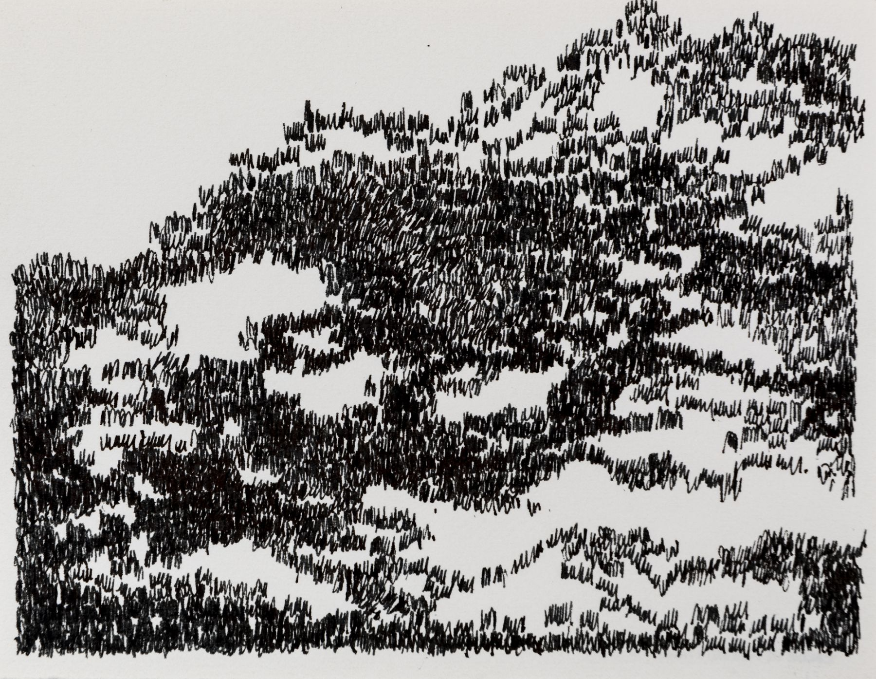 Felrath Hines, Untitled, 1977, Ink on paper,  5 x 6.5 inches, Unsigned. Abstract ink image with stacks of small squiggles. Felrath Hines worked to create universal visual idioms from a place of complex personal experience. His figurative and cubist-style artwork morphed into soft-edged organic abstracts as he grappled with hues in his chosen oil medium.