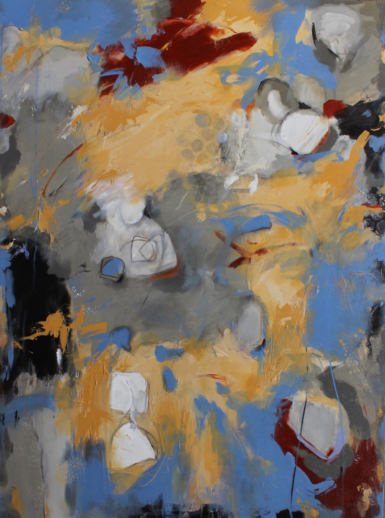 Diane Walker-Gladney, Silly Hour,  Acrylic and graphite on canvas,  48 X 36 inches. Abstract work with grey, yellow, dark maroon and blue colors organically and gesturally painted. Diane Walker-Gladney celebrates and paints her childhood experiences and insignificant moments that she feels defines her story.