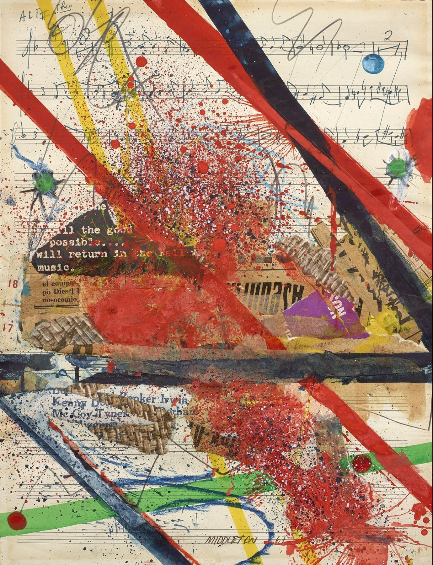 Slashes of Sound, 1965, Mixed media and collage on paper