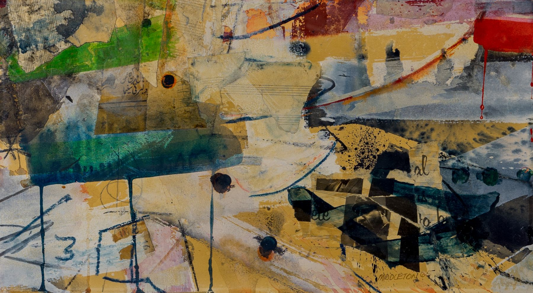 Ode to Thelonius, 1965, Mixed media collageon paper