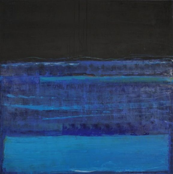 Katherine Parker, Fathom, 2015, Oil on canvas, 60 x 60 inches, Abstract painting with multiple layers of black and blue , Katherine Parker is known for her large vividly painted canvases which are characterized by layers of stumbled and abraded oil paint.
