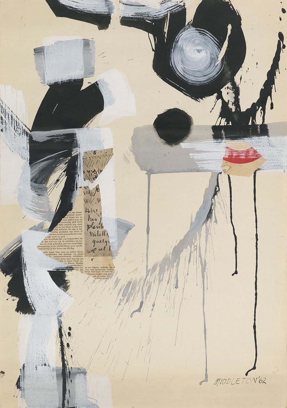 Sam Middleton, Cymbals, 1962,  Mixed media and collage on paper,  25-1/4 X 17-3/4,  Signed and dated lower right. Mixed media abstract work with newspaper, black and white splattered paint. Sam Middleton was one of the leading 20th-century American artists, and is a mixed-media collage artist.