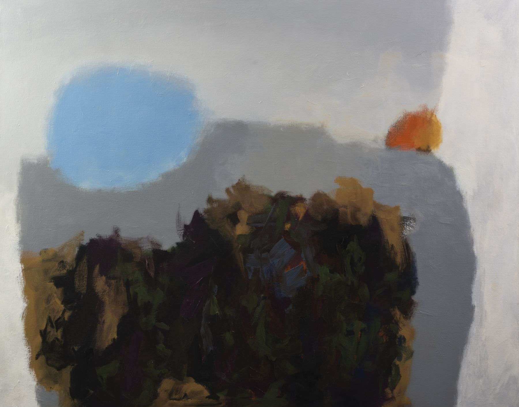 Felrath Hines, Dream Landscape, 1962, Oil on canvas, 45 x 60 inches. Abstract painting with soft grey background, blue and orange spheres and painterly strokes of black, tan and dark green.His figurative and cubist-style artwork morphed into soft-edged organic abstracts as he grappled with hues in his chosen oil medium.