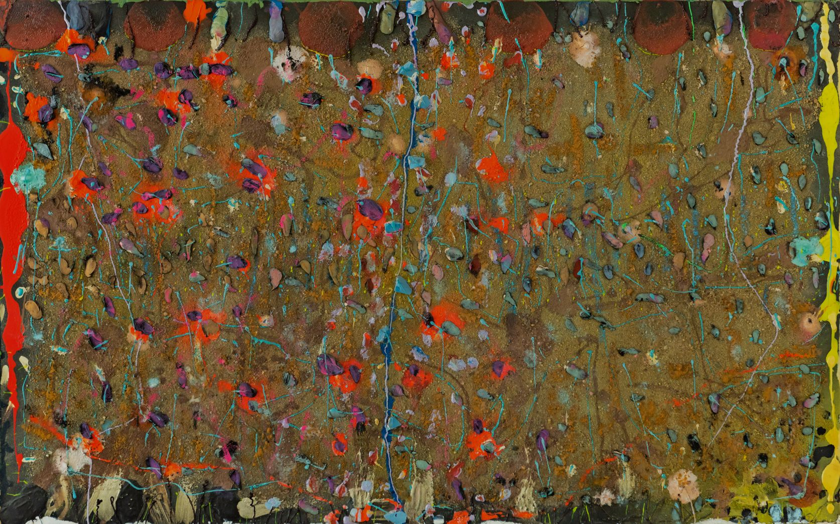 Stanley Boxer, Broiderfries, 1990 Mixed Media on Canvas, 30 x 48 inches, Large abstract painting with red, orange, yellow and hunter green. Layered, textured and thick work. Stanley Boxer was known for abstract work that was painted thickly. His work is part of the permanent collections of many museums.