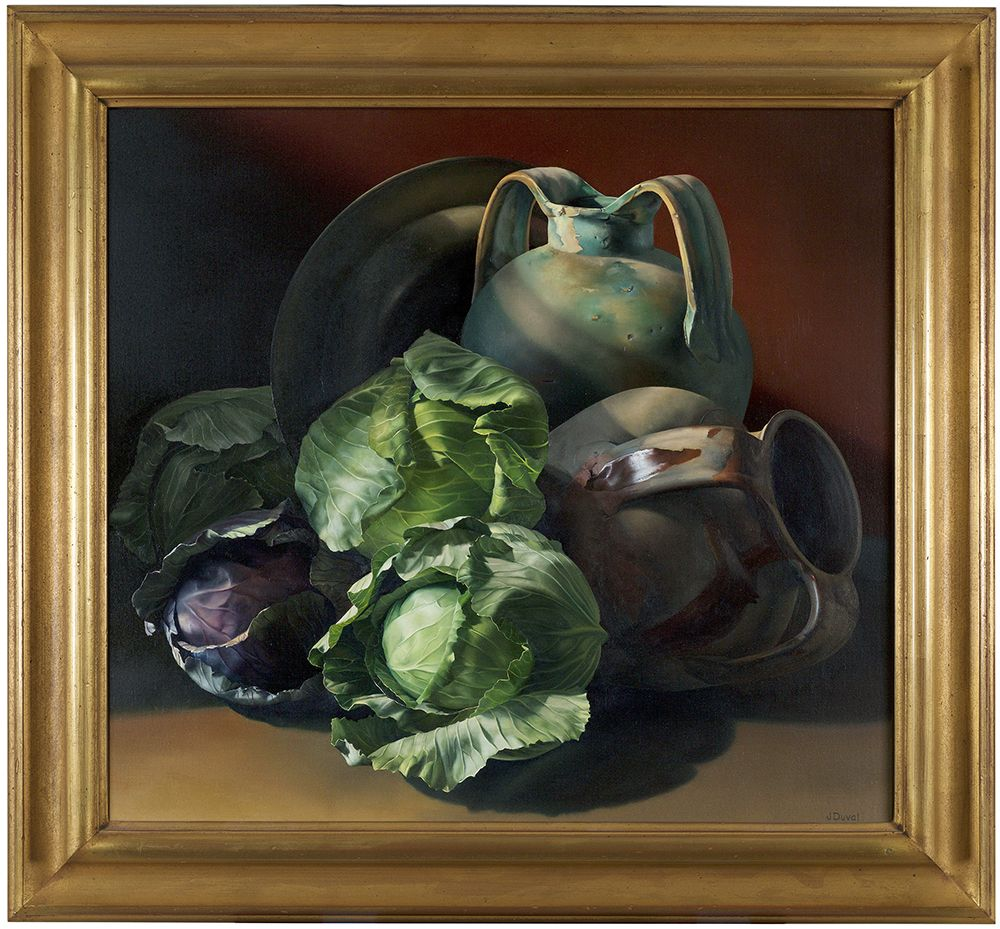 Jeanne Duval, Fuori L'Ombra, 1998,  Oil on linen,  20 1/4 x 25 1/4 inches, Signed lower right. Realistic oil painting of cabbages (green and purple), and pottery. Jeanne Duval creates dramatic still life's that are simultaneously realistic and surrealistic. The extreme detail with which she paints is similar to that of the Dutch masters' still life's of the 17th century, meticulously capturing blemishes and imperfections; her objects seem to move beyond the realm of real life.