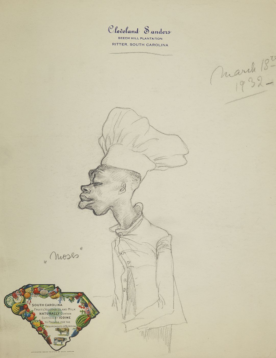 Hilla Rebay, Moses, Graphite on paper, 10 3/4 x 8 1/4 inches, pencil sketch of man in chefs uniform. Hilla Rebay was an abstract artist and co-founder of the Guggenheim.