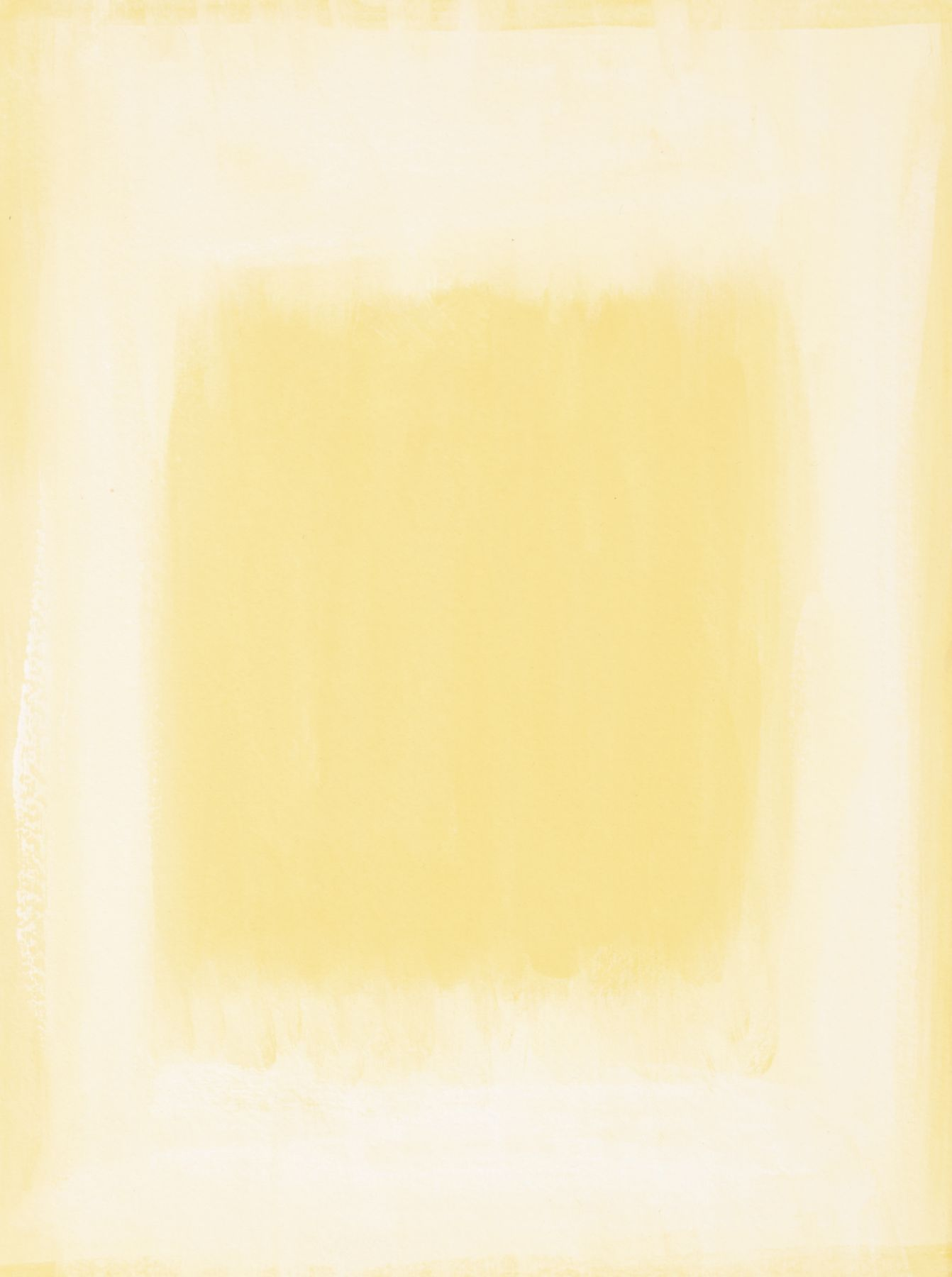 Felrath Hines, Untitled,  Watercolor on paper, 7.75 x 6 inches, Unsigned. Pale yellow rectangle with organic yellow rectangle in the center of the frame. Felrath Hines worked to create universal visual idioms from a place of complex personal experience. His figurative and cubist-style artwork morphed into soft-edged organic abstracts as he grappled with hues in his chosen oil medium.