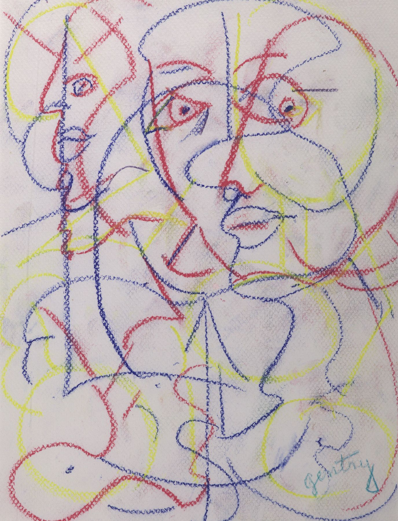 Dialogue Series A, 1993, Pastel on paper