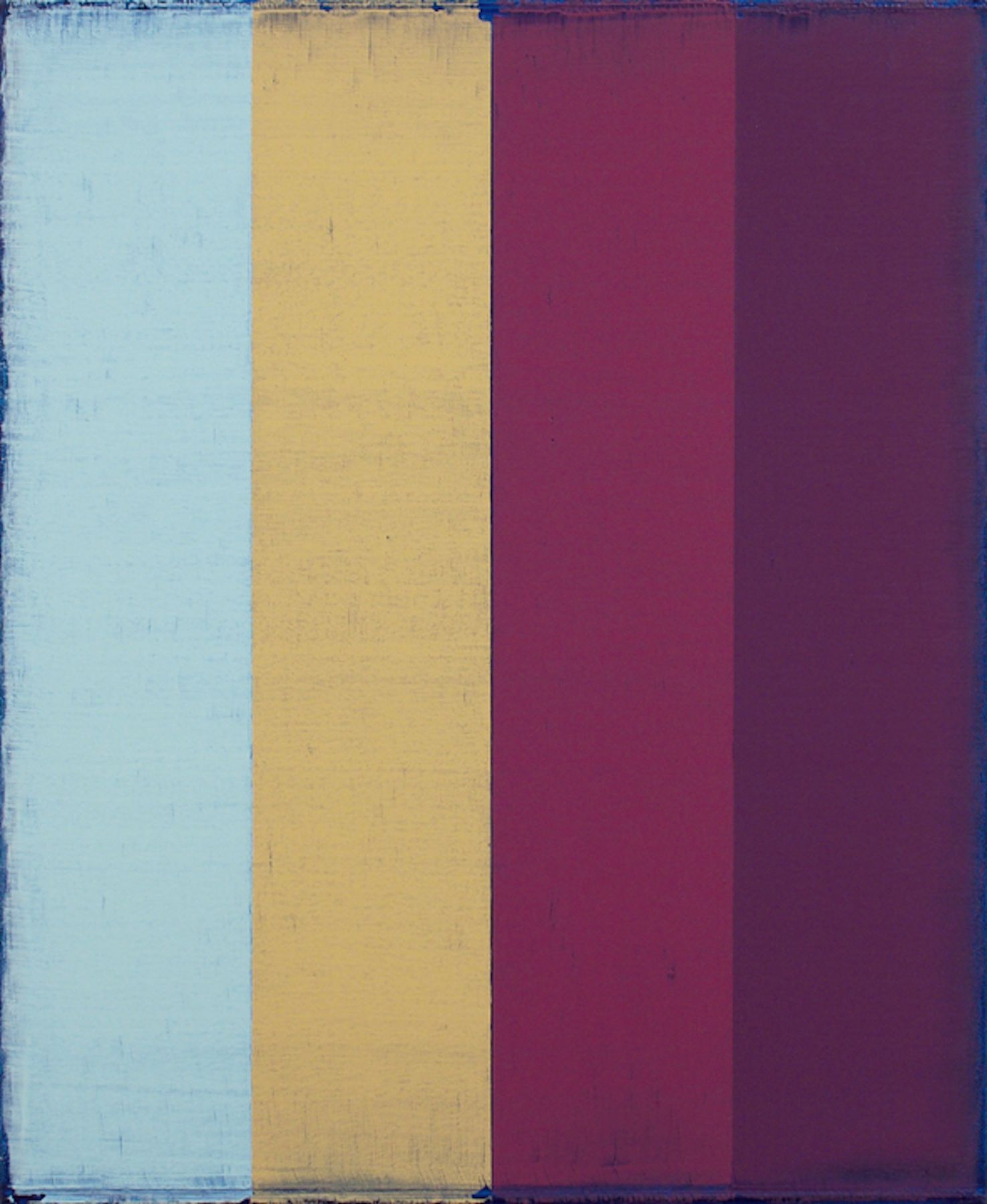 Steven Alexander, Arcade 4, 2017, Oil and acrylic on canvas, 22 x 18 inches, Signed and titled on the verso, Vertical rectangles in light blue, yellow, pink and purple with rough navy blue edges, Steven Alexander is an American artist who makes abstract paintings characterized by luminous color, sensuous surfaces and iconic configurations.