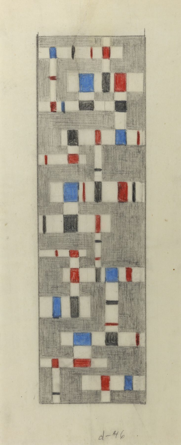 Burgoyne Diller, Untitled, 1946, Grpahite and crayon on vellum, 18 5/8 x 7 1/8 inches, Vertical pencil drawing with red and blue squares. Burgoyne Diller was a modernist artist who worked in various mediums to create geometric abstractions.