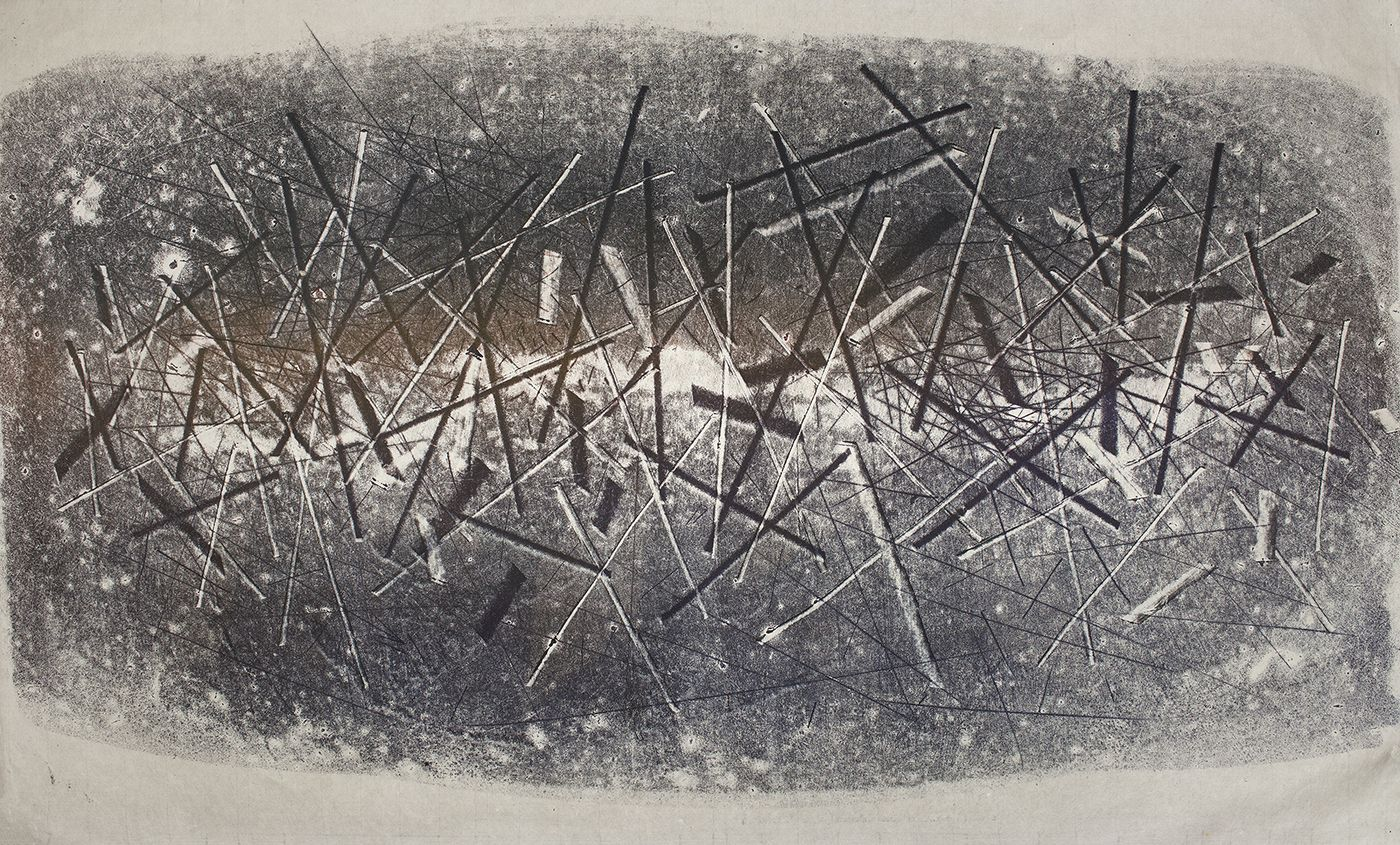Harry Bertoia, 1165, c.1970, Monoprint on rice paper  26 x 41 in. Abstract black and white lines. Harry Bertoia was an artist and furniture designer.