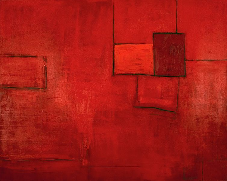 Katherine Parker, Fire Wall, Oil on canvas, 72 x 96 inches, Abstract red painting with black outlined rectangular boxes, Katherine Parker is known for her large vividly painted canvases which are characterized by layers of stumbled and abraded oil paint.