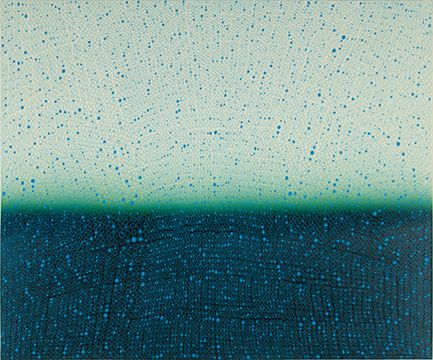 Teo Gonzalez, Arch/Horizon Painting 4, 2015, Acrylic on canvas over board, 36 x 44 inches.Light teal and aegean blue background with signature grid on top. Teo Gonzalez was born in Spain, and his signature style are works that consist of thousands of drops of water, arranged into a grid pattern, inside of which a small amount of ink or enamel was dropped and left to dry.