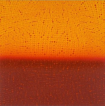 Teo Gonzalez, Arch/Horizon Painting 1, 2015, Acrylic on canvas over board, 24 x 24inches. Orange and dark maroon background with signature grid on top. Teo Gonzalez was born in Spain, and his signature style are works that consist of thousands of drops of water, arranged into a grid pattern, inside of which a small amount of ink or enamel was dropped and left to dry.