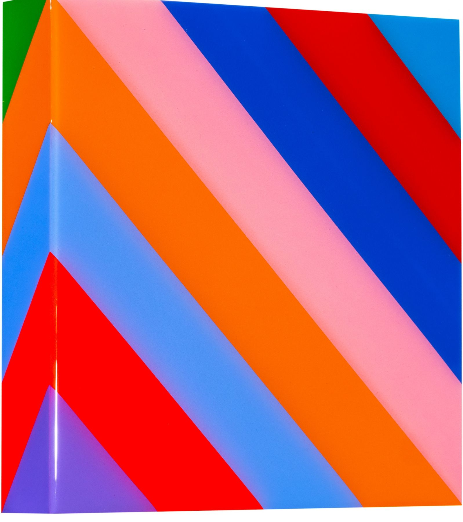 Heidi Spector, My Clarity I, 2019, Liquitex with resin on Birch panel, 12 x 12 x 2 inches, Signed, titled and dated on the verso, Square panel with bright and colorful vertical lines set in a glass-like surface, Heidi Spector creates geometric minimalist art inspired by musical rhythms that are composed of repetitive shapes in candy-like colors that vibrate.